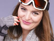 Woman in ski googles warm winter clothing portrait Royalty Free Stock Images