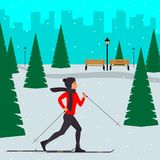 Woman skier in motion in a snowy city park among the fir trees. Cross country skiing woman. Young woman on skies in the city. Vect. Or illustration in flat style Stock Photo