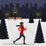 Woman skier in motion in a snowy city park among the fir trees. Cross country skiing woman. Young woman on skies in the city. Vect. Or illustration in flat style Royalty Free Stock Image