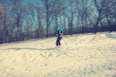 Woman skier skiing downhill on background of trees Stock Photos