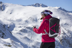 Woman skier. Taking a break on a sunny winter day royalty free stock photos