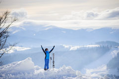 Woman skier on top of the mountain. Winter sports concept Royalty Free Stock Images