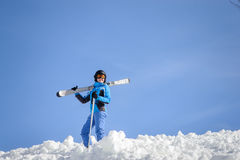 Woman skier on top of the mountain. Winter sports concept Royalty Free Stock Photos