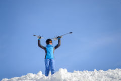 Woman skier on top of the mountain. Winter sports concept Stock Images