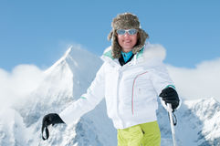 Woman skiing Stock Photo