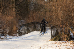 Woman skiing in the park Stock Photos