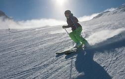 A woman is skiing at a ski resort, Kitzsteinhorn glaci Stock Photography