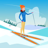 Woman Skiing Winter Activity Sport Vacation Snow Mountain Slope Royalty Free Stock Photos
