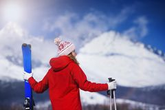 Woman skiing in winter nature Royalty Free Stock Photo