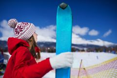 Woman skiing in winter nature Stock Image