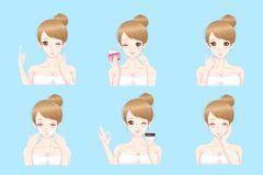 Woman with skin care. On the blue background Royalty Free Stock Photo