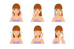 Woman skin care. Cartoon beautiful girl cleaning and washing face with water and soap after makeup. Beauty body stock illustration