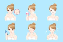 Woman with skin care Stock Images