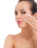 Woman  skin care woman removing makeup Stock Image