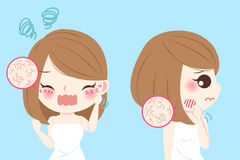 Woman with skin dry. Cartoon woman with skin dry and feel bad on blue background Royalty Free Stock Photography