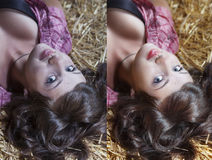 Woman with before and after skin: problem skin with blemishes and clear complexion. Beautiful woman with before and after skin: problem skin with blemishes and royalty free stock images