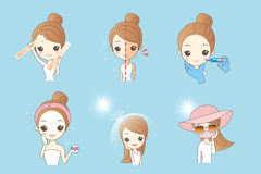 Woman skin and whiten concept. Cartoon woman using sunscream, concept for skin care and whiten Stock Photo