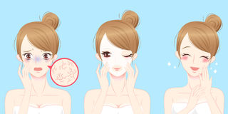 Woman with skincare problem Stock Image