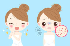 Woman with skincare problem. Cartoon beauty woman with skincare problem before and after Royalty Free Stock Photo