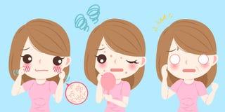 Woman with skincare problem. Cute cartoon woman with skincare problem on blue background Royalty Free Stock Photos