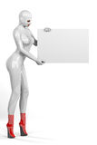 Woman in skintight latex holding empty board Royalty Free Stock Photo