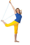 Woman with skipping-rope Stock Photo
