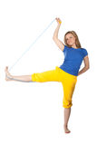 Woman with skipping-rope Stock Photography