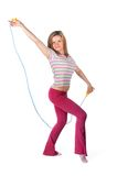 The woman with a skipping rope Stock Images