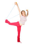 Woman with skipping-rope Royalty Free Stock Photography