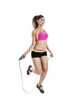 Woman with skipping rope Royalty Free Stock Image