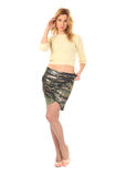 Woman in skirt standing in full length isolated Stock Photos
