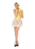 Woman in skirt standing in full length isolated Stock Photo