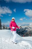 Woman on skis. Royalty Free Stock Photos