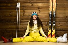 Woman with skis Stock Images
