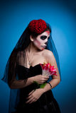 Woman in skull face art mask  All Souls Day Stock Photos