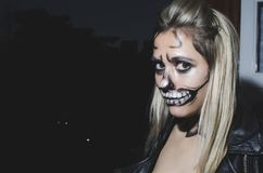 Woman With Skull Face Paint Royalty Free Stock Images