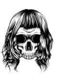 Woman skull with hair in the white background stock illustration
