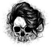 woman skull with hair in the white background royalty free illustration