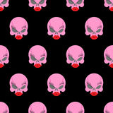 Woman skull seamless pattern. Vector background pink skull blond Royalty Free Stock Photography