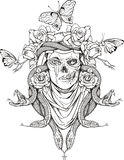Woman skull, snakes, butterflies and flowers. Illustration with woman skull, snakes, butterflies and flowers Royalty Free Stock Photos