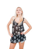 Woman in skull t-shirt Stock Photos