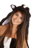 Woman skunk close smile Royalty Free Stock Photos
