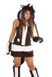Woman skunk costume Royalty Free Stock Images