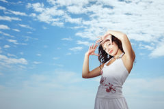 Woman and sky Stock Photo