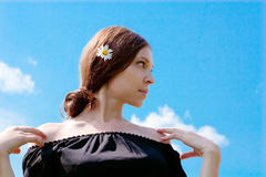 Woman and sky royalty free stock image