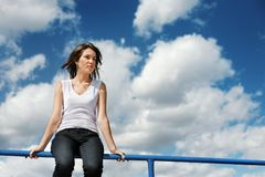 Woman sky Royalty Free Stock Photography