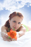 Woman on sky Royalty Free Stock Images