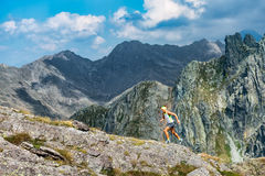 Woman skyrunner Royalty Free Stock Image