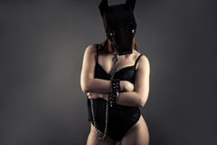 Woman slave in dog mask with leash in hands. Isolated on gray background Stock Photography