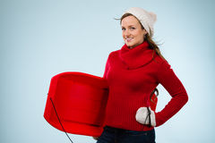 Woman and sled Stock Photo
